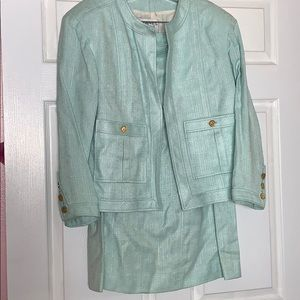 Chanel Boutique turquoise skirt suit 44
